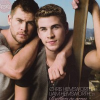 Australian actors and brothers Chris Hemsworth and Liam Hemsworth, blue-eyed and hot in WHO magazine.
